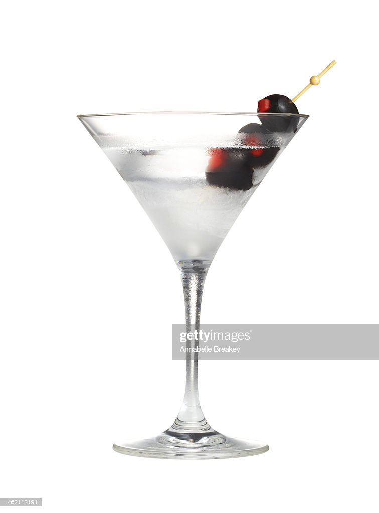Martini with Black Olives : Stock Photo