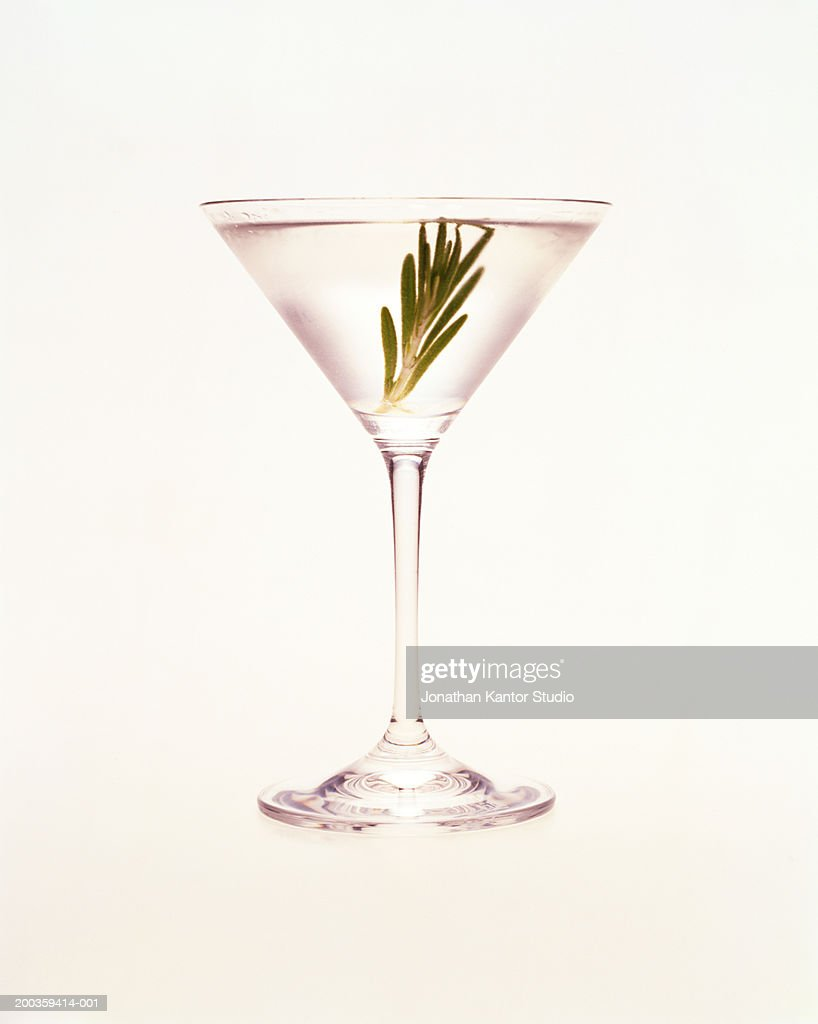 Martini with sprig of rosemary