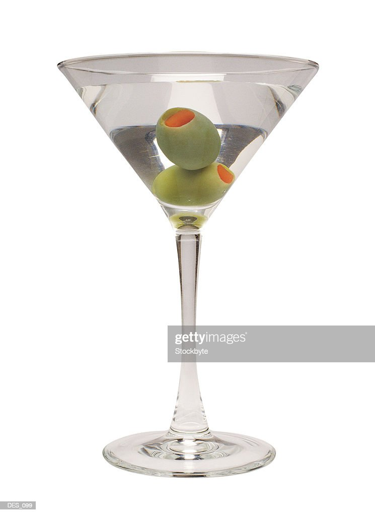 Martini with two olives, side view : Stock Photo
