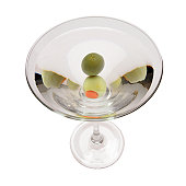 Martini with two olives, top view