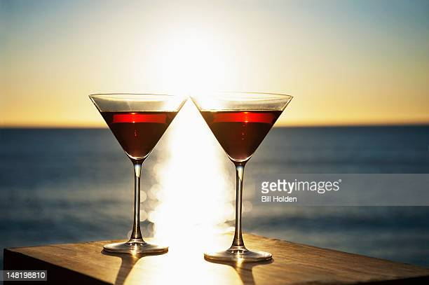 Martinis on table outdoors