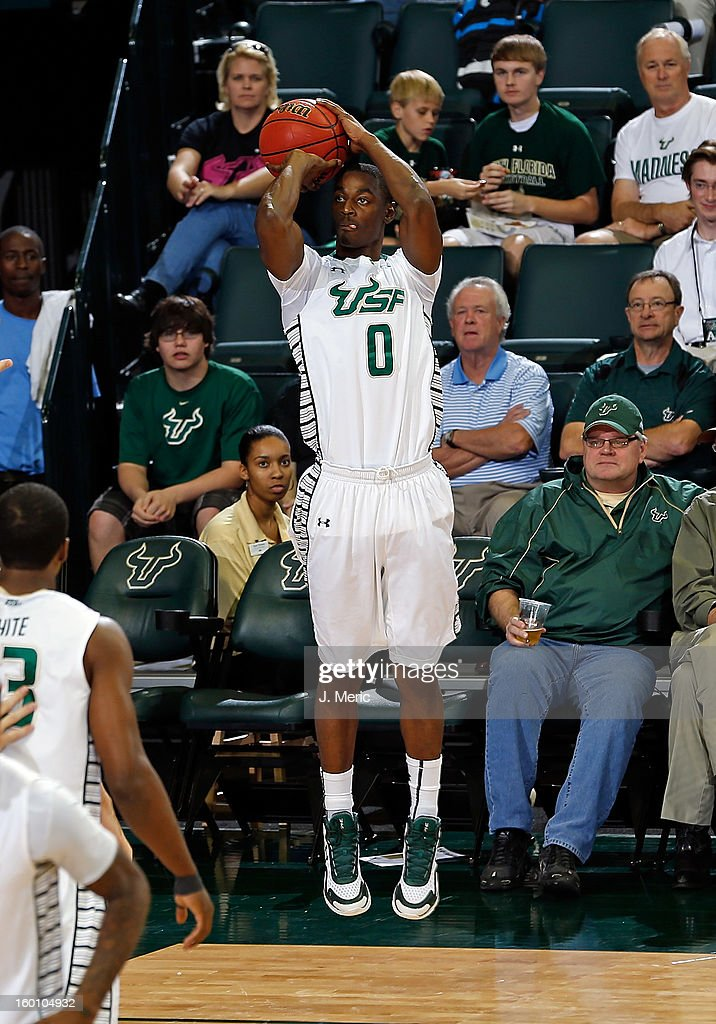 Martino Brock #0 of the South Florida Bulls shoots against the Notre Dame Fighting Irish during the game at the Sun Dome on January 26, 2013 in Tampa, Florida.