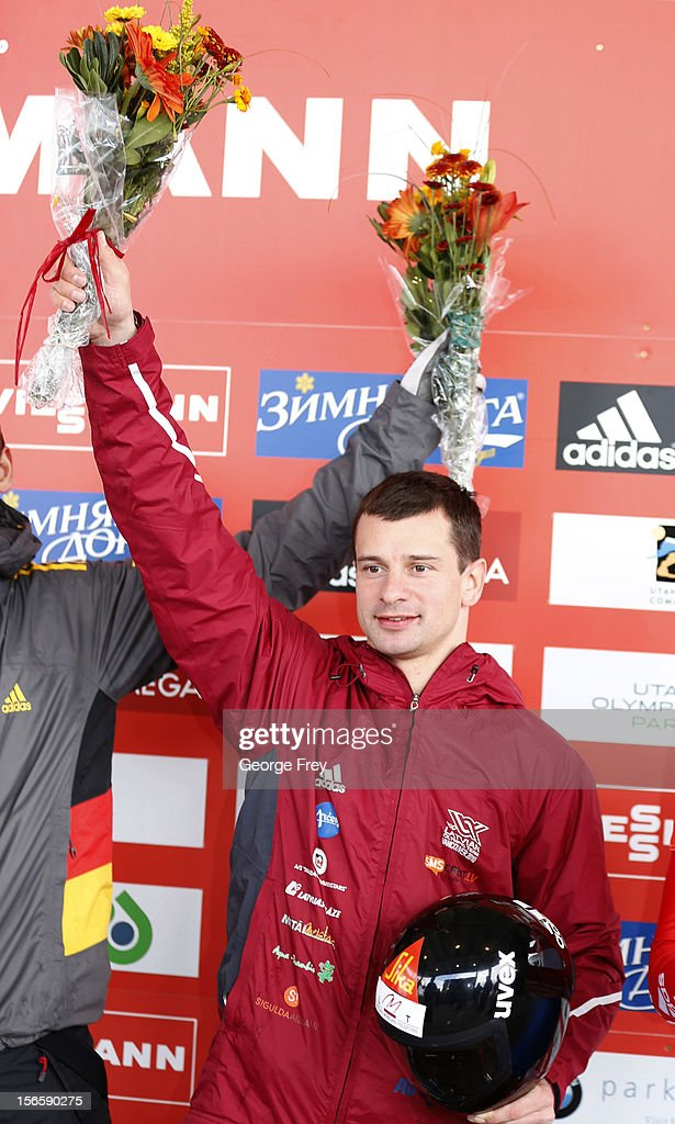 Martins Dukurs of Latvia celebrates his first place finish in the FIBT Men's Skeleton World Cup on November 17, 2012 at Utah Olympic Park in Park City, Utah.