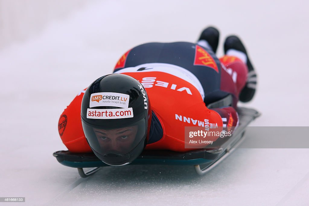 <a gi-track='captionPersonalityLinkClicked' href=/galleries/search?phrase=Martins+Dukurs&family=editorial&specificpeople=4876286 ng-click='$event.stopPropagation()'>Martins Dukurs</a> of Latvia competes during heat one of the Men's Skeleton at the Viessmann FIBT Bob & Skeleton World Cup at the Olympia Bob Run on January 10, 2014 in St Moritz, Switzerland.