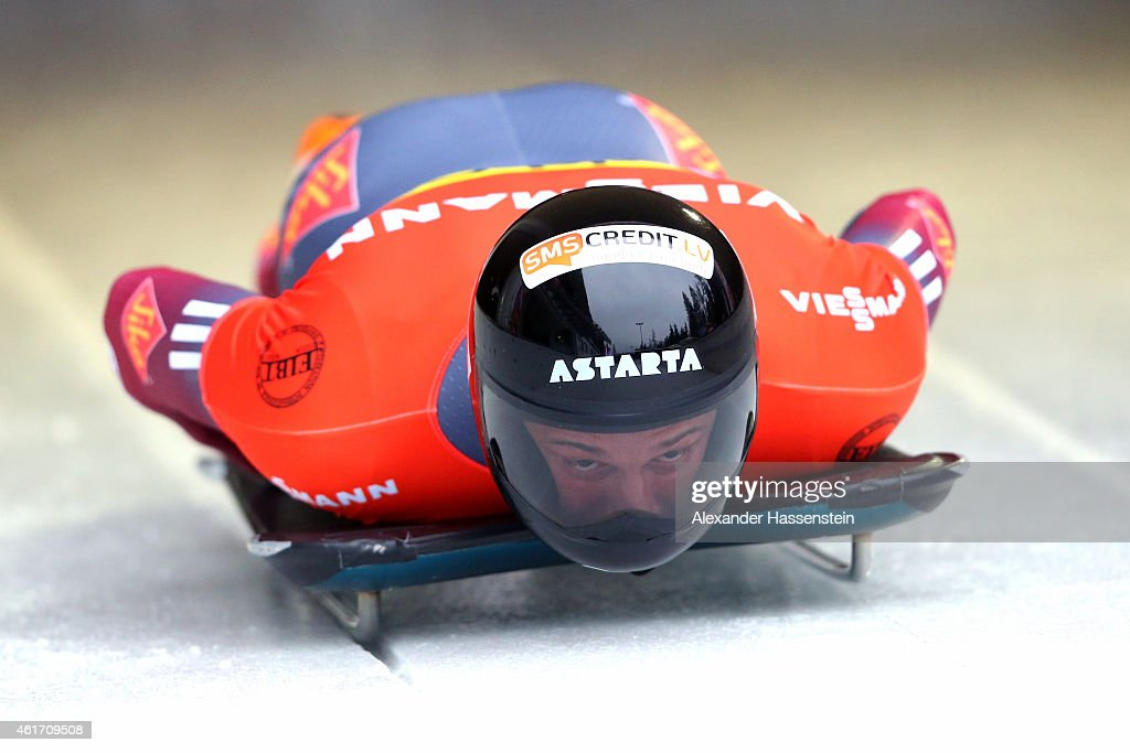 <a gi-track='captionPersonalityLinkClicked' href=/galleries/search?phrase=Martins+Dukurs&family=editorial&specificpeople=4876286 ng-click='$event.stopPropagation()'>Martins Dukurs</a> of Latvia competes during the Viessmann FIBT Skeleton World Cup at Deutche Post Eisarena on January 17, 2015 in Koenigssee, Germany.