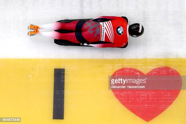 Martins Dukurs of Latvia competes in the first run of the IBSF World Championships Bob Skeleton 2017 at Deutsche Post Eisarena Koenigssee on February...