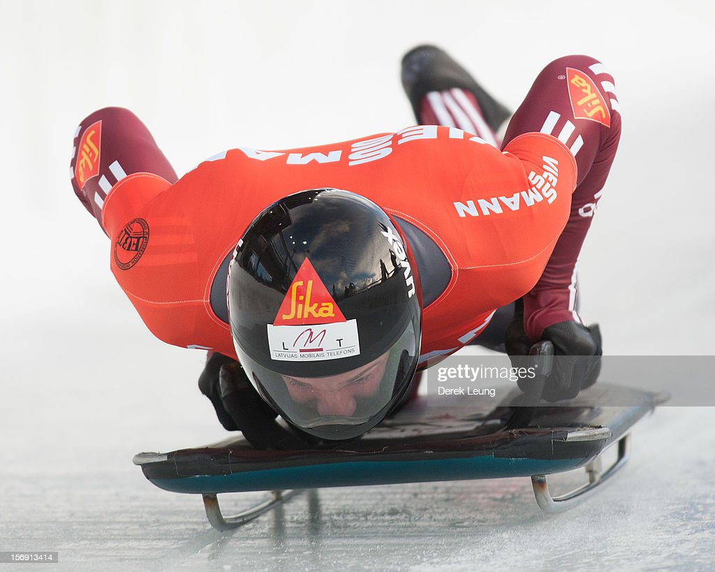 Martins Dukurs of Latvia competes in the skeleton on day 2 of the IBSF 2012 Bobsleigh and Skeleton World Cup on November 24, 2012 at the Whistler Sliding Centre in Whistler, British Columbia, Canada. Martins placed second.