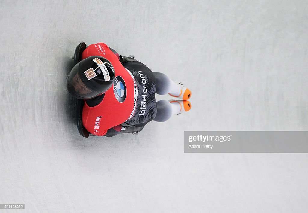 <a gi-track='captionPersonalityLinkClicked' href=/galleries/search?phrase=Martins+Dukurs&family=editorial&specificpeople=4876286 ng-click='$event.stopPropagation()'>Martins Dukurs</a> of Latvia completes his first run of the Men's Skeleton during Day 4 of the IBSF World Championships 2016 at Olympiabobbahn Igls on February 18, 2016 in Innsbruck, Austria.