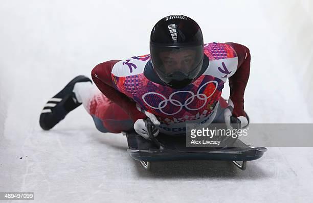 Martins Dukurs of Latvia ends his run during the Men's Skeleton on Day 8 of the Sochi 2014 Winter Olympics at Sliding Center Sanki on February 15...