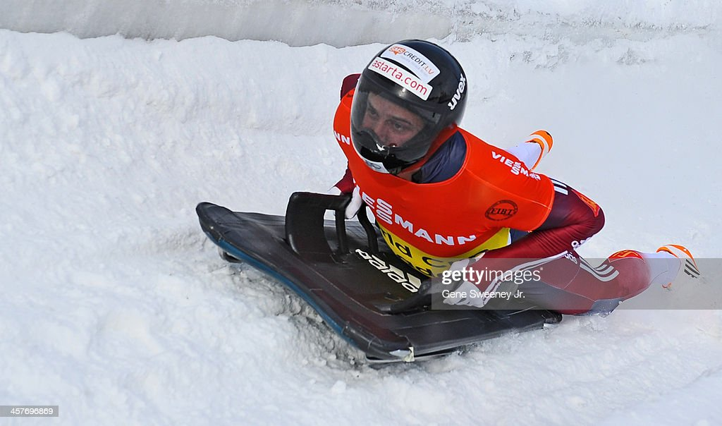 <a gi-track='captionPersonalityLinkClicked' href=/galleries/search?phrase=Martins+Dukurs&family=editorial&specificpeople=4876286 ng-click='$event.stopPropagation()'>Martins Dukurs</a> of Latvia finishes his second run in the Men's Skeleton competition during the Viessmann IBSF Bobsled and Skeleton World Cup event at Utah Olympic Park December 6, 2013 in Park City, Utah.