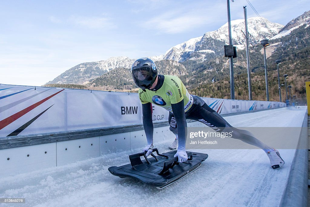 <a gi-track='captionPersonalityLinkClicked' href=/galleries/search?phrase=Martins+Dukurs&family=editorial&specificpeople=4876286 ng-click='$event.stopPropagation()'>Martins Dukurs</a> of Latvia reacts after the final run of the IBSF Bobsleigh & Skeleton World Cup on February 27, 2016 in Koenigsee, Germany.