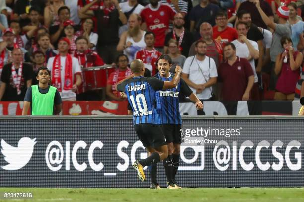 Martins Eder of FC Internazionale celebrates with Joao Mario after scoring FC Bayern during the International Champions Cup match between FC Bayern...