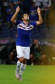 Martins Eder of UC Sampdoria celebrates after scoring the first goal during the Serie A match between UC Sampdoria and Carpi FC at Stadio Luigi...