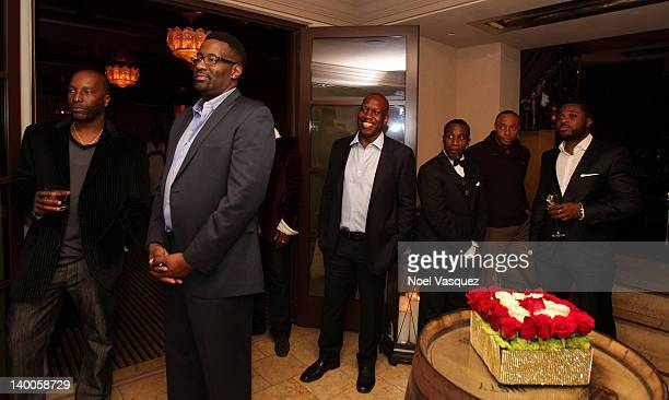 Martin's Lamar Johnson Dorian Missick and Malcolm Jamal Warner attend the Regina King and REMY Martin Oscar viewing party at the Montage Beverly...