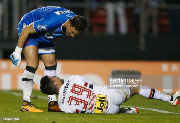 Martins Silva of Vasco and Marcinho of Sao Paulo in action during the match between Sao Paulo and Vasco for the Brasileirao Series A 2017 at Morumbi...