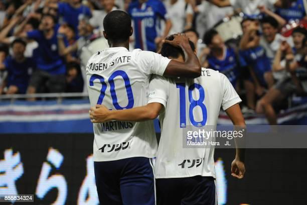 Martinus and Keita Endo of Yokohama FMarinos celebrate after their 21 victory in the JLeague J1 match between Gamba Osaka and Yokohama FMarinos at...