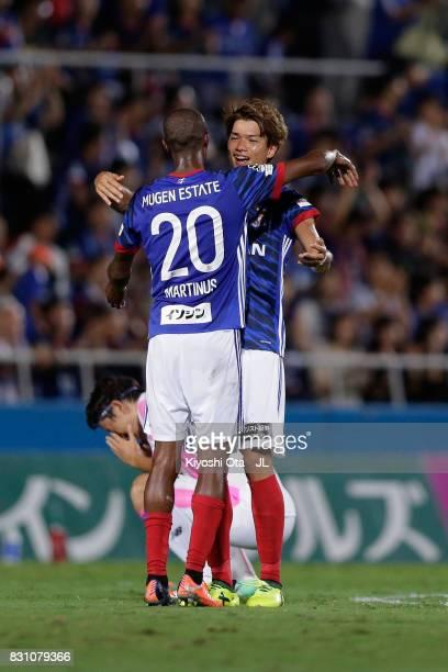 Martinus and Takahiro Ogihara of Yokohama FMarinos celebrate their 10 victory in the JLeague J1 match between Yokohama FMarinos and Sagan Tosu at...