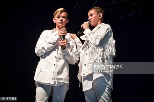 Martinus Gunnarsen and Marcus Gunnarsen of the Norwegian band Marcus Martinus perform live on stage during a concert at the Huxleys on September 1...