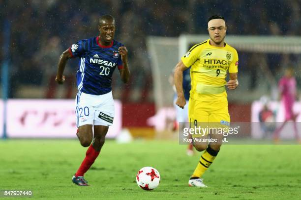 Martinus of Yokohama FMarinos and Cristiano of Kashiwa Reysol compete for the ball during the JLeague J1 match between Yokohama FMarinos and Kashiwa...