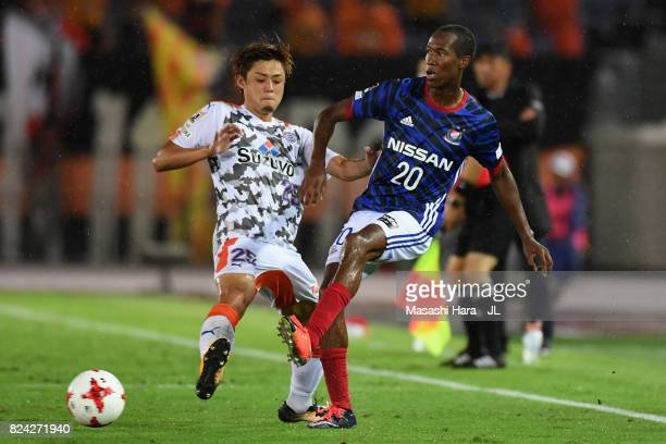 Martinus of Yokohama FMarinos and Ko Matsubara of Shimizu SPulse compete for the ball during the JLeague J1 match between Yokohama FMarinos and...