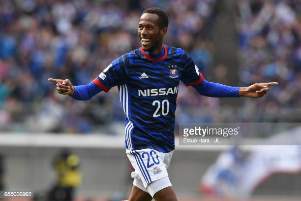 Martinus of Yokohama FMarinos celebrates scoring the opening goal during the JLeague J1 match between Yokohama FMarinos and Albirex Niigata at Nissan...