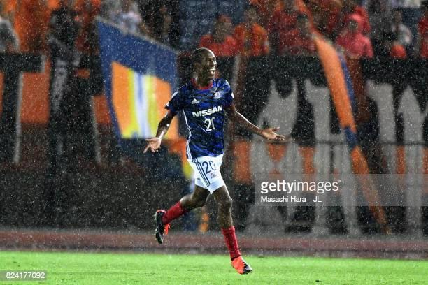 Martinus of Yokohama FMarinos celebrates scoring the opening goal during the JLeague J1 match between Yokohama FMarinos and Shimizu SPulse at Nissan...