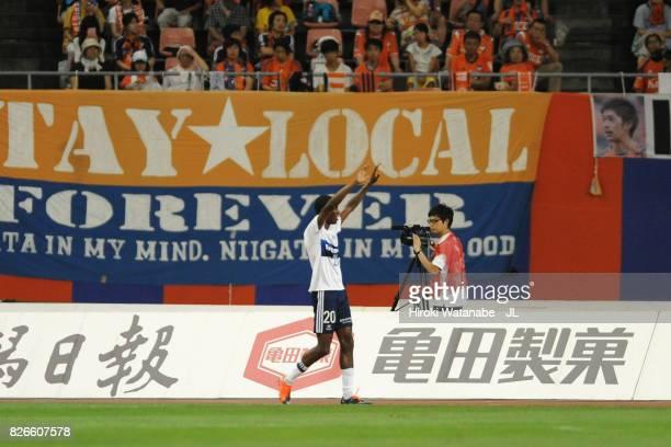 Martinus of Yokohama FMarinos celebrates scoring the opening goal during the JLeague J1 match between Albirex Niigata and Yokohama FMarinos at Denka...