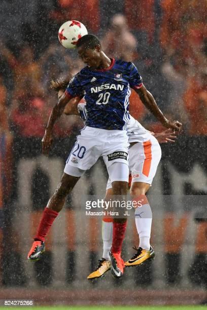 Martinus of Yokohama FMarinos heads the ball during the JLeague J1 match between Yokohama FMarinos and Shimizu SPulse at Nissan Stadium on July 29...