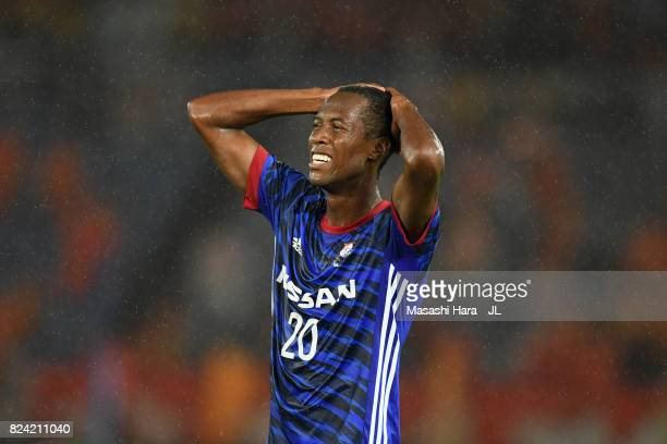Martinus of Yokohama FMarinos reacts during the JLeague J1 match between Yokohama FMarinos and Shimizu SPulse at Nissan Stadium on July 29 2017 in...