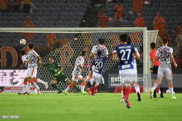 Martinus of Yokohama FMarinos scores the opening goal during the JLeague J1 match between Yokohama FMarinos and Shimizu SPulse at Nissan Stadium on...