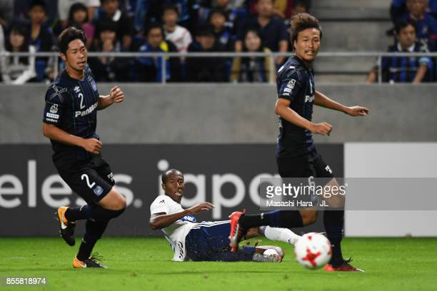 Martinus of Yokohama FMarinos shoots for the goal during the JLeague J1 match between Gamba Osaka and Yokohama FMarinos at Suita City Football...