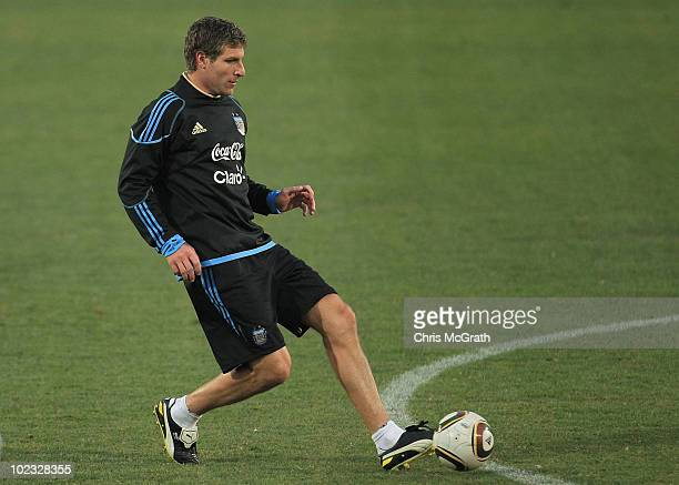 Martín Palermo of Argentina's national football team looks to pass during a team training session on June 23 2010 in Pretoria South Africa
