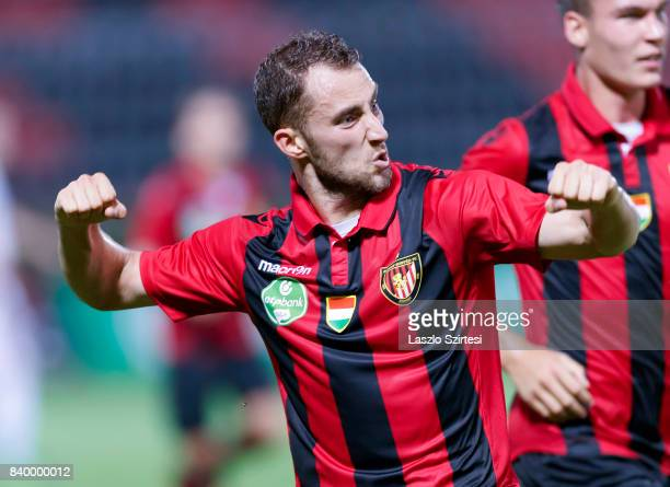Marton Eppel of Budapest Honved celebrates his equalizer in front of David Bobal of Budapest Honved during the Hungarian OTP Bank Liga match between...