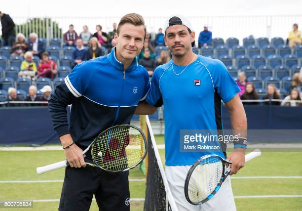 Marton Fucsovics of Hungary and Alex Bolt of Australia coin toss before their men's singles final on June 25 2017 in Ilkley England