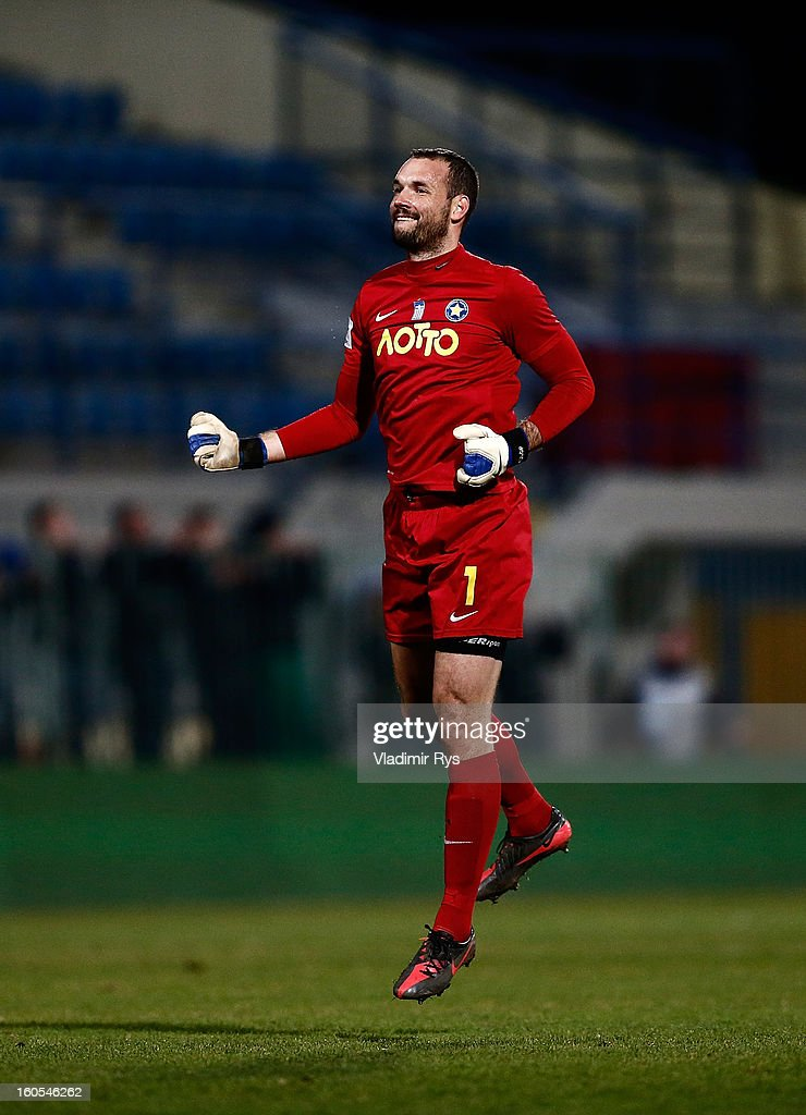 <a gi-track='captionPersonalityLinkClicked' href=/galleries/search?phrase=Marton+Fulop&family=editorial&specificpeople=198884 ng-click='$event.stopPropagation()'>Marton Fulop</a> of Tripolis celebrates after his team scored their second goal during the Superleague match between Asteras Tripolis and Panathinaikos FC at Asteras Tripolis Stadium on February 2, 2013 in Tripolis, Greece.