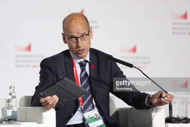 Martti Hetemaeki state secretary at Finland's finance ministry gestures as he speaks during a panel session at the Moscow Financial Forum in Moscow...