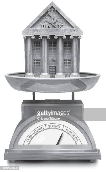 Marty Bach black and white illustration of a classic bricks and mortar bank resting on a scale that is measuring whether the bank is performing sound...