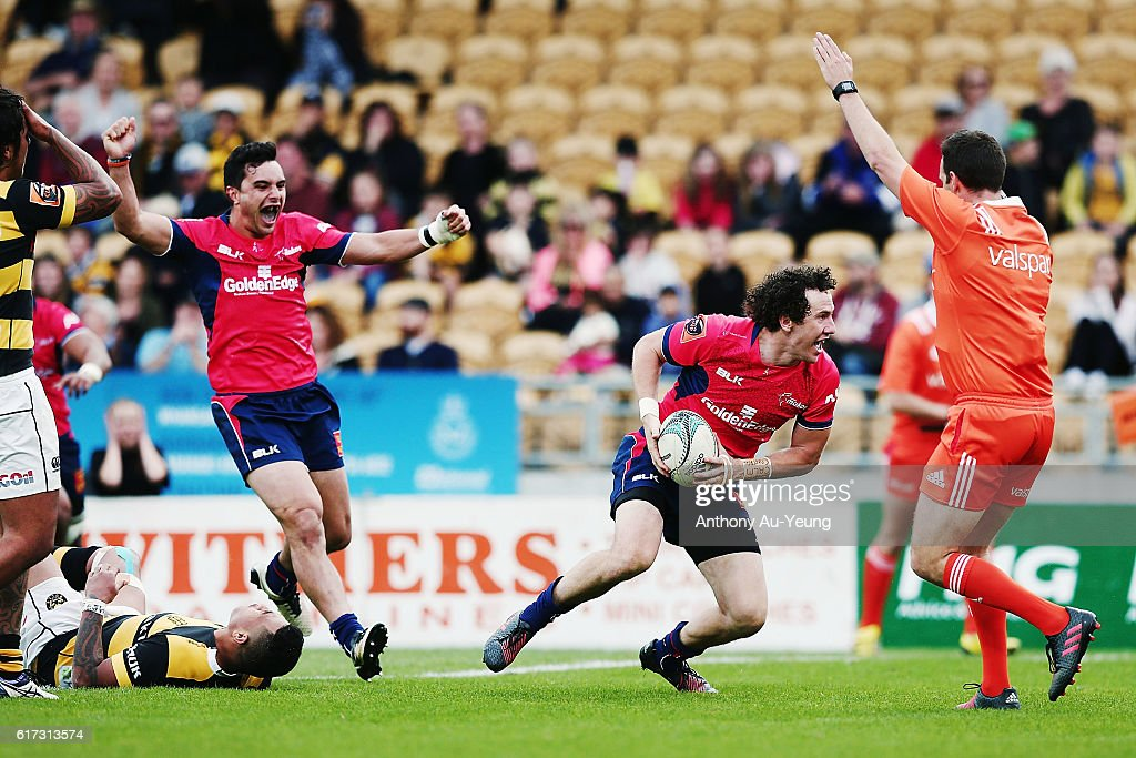 Marty Banks of Tasman celebrates after scoring the winning try during the Mitre 10 Cup Semi Final match between Taranaki and Tasman on October 23, 2016 in New Plymouth, New Zealand.