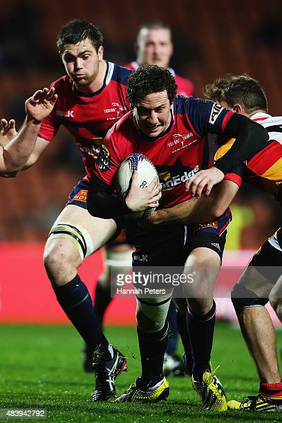 Marty Banks of Tasman charges forward during the round one ITM Cup match between Waikato and Tasman at Waikato Stadium on August 14 2015 in Hamilton...
