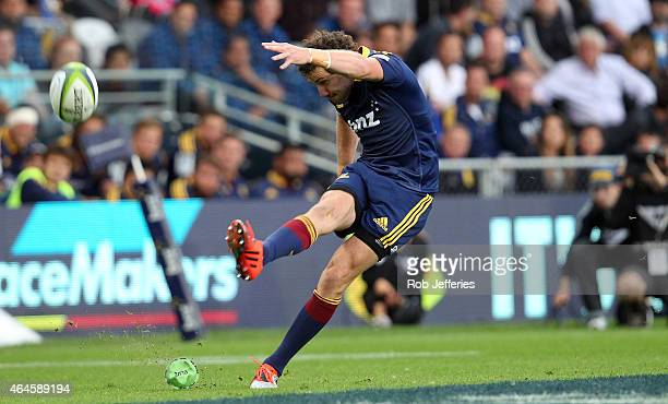 Marty Banks of the Highlanders kicks a goal during the round three Super Rugby match between the Highlanders and the Reds at Forsyth Barr Stadium on...
