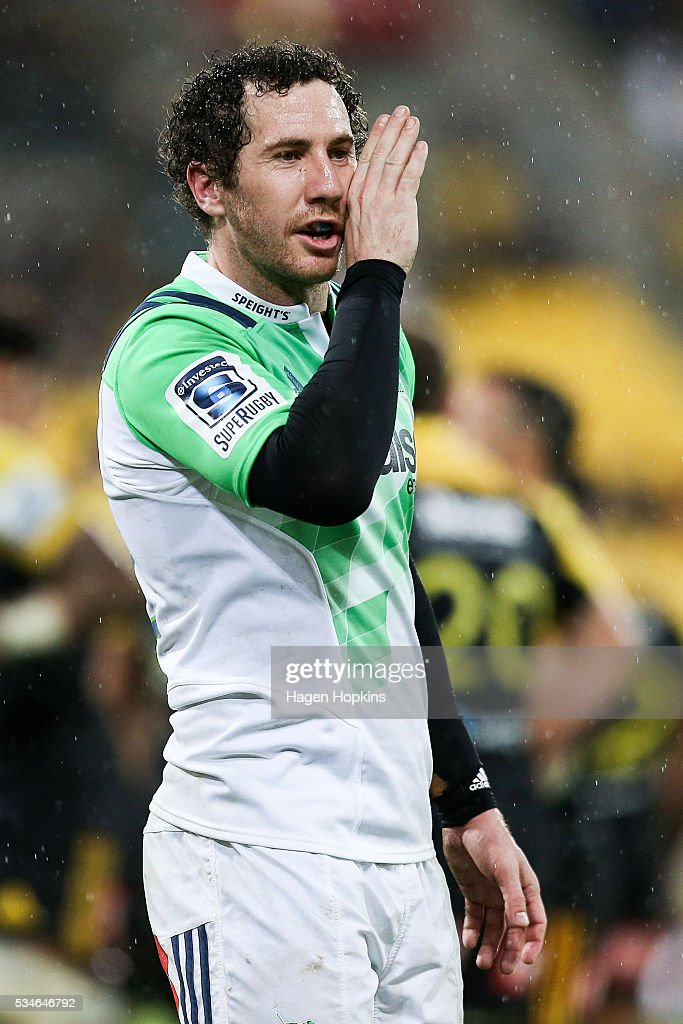 Marty Banks of the Highlanders talks to a teammate during the round 14 Super Rugby match between the Hurricanes and the Highlanders at Westpac Stadium on May 27, 2016 in Wellington, New Zealand.