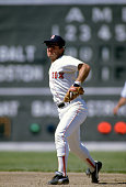 Marty Barrett of the Boston Red Sox looks to make a throw to first base during an Major League Baseball game circa 1986 at Fenway Park in Boston...