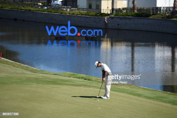 Marty Dou putts on the 18th green during the second round of the Webcom Tour Championship at Atlantic Beach Country Club on September 29 2017 in...