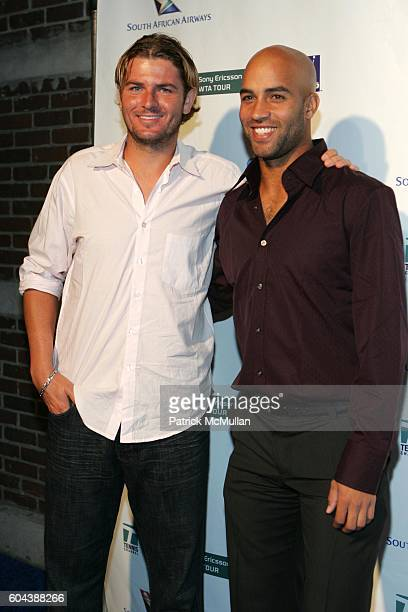 Marty Fisch and James Blake attend Sony Ericsson WTA Tour ATP and the Tennis Channel Team up to present the Glam Slam '06 Party at Crobar on August...