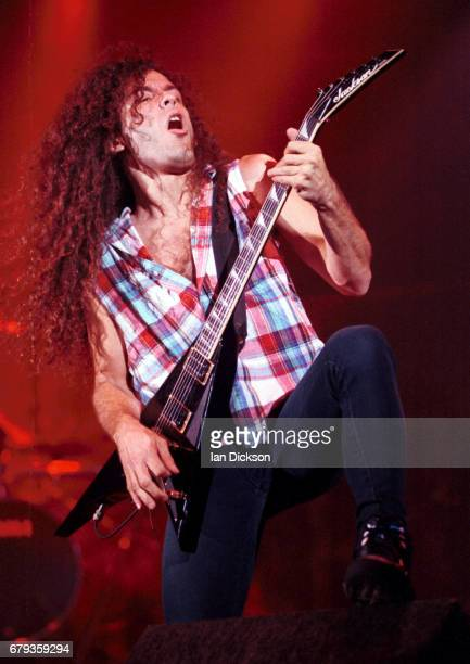 Marty Friedman of Megadeth performing on stage at Hammersmith Odeon London 30 September 1992