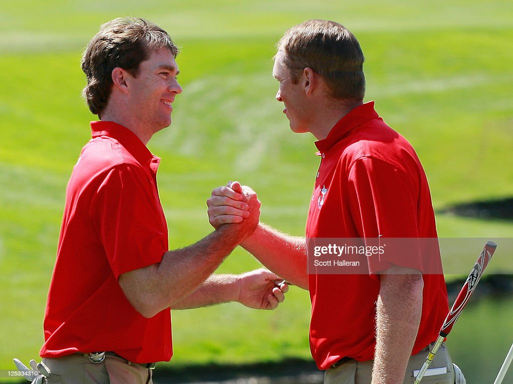 Marty Jertson (L) and Rob McClellan (L) of the USA team celebrate on the 18th green after winning their Morning Four-Ball Match at the 25th PGA Cup at the CordeValle Golf Club on September 16, 2011 in San Martin, California.