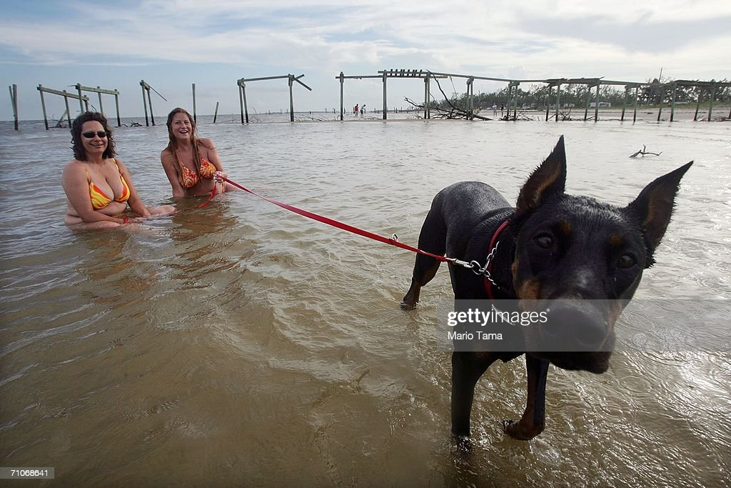 Marty Mansfield Laura Miller and Lola the dog cool off in the water in front of a pier destroyed by Hurricane Katrina May 27 2006 in Waveland...