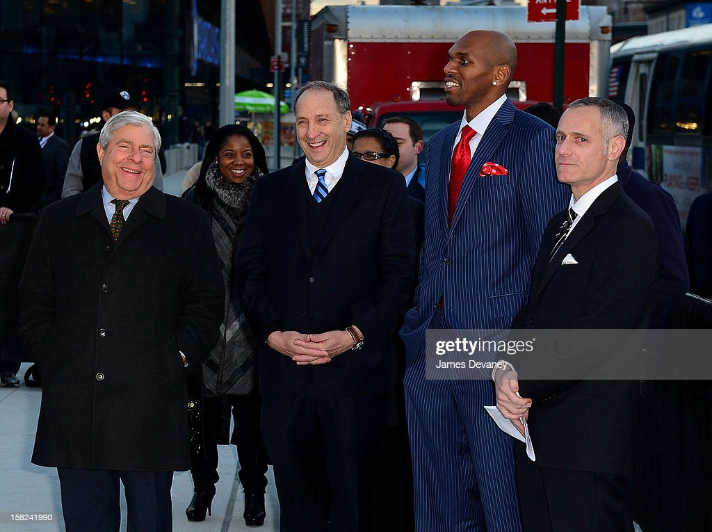 Marty Markowitz, Bruce Ratner, Jerry Stackhouse and Brett Yormark attend the Ebbets Field Flagpole Commemoration at the Barclays Center on December 11, 2012 in the Brooklyn borough of New York City.