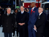 Marty Markowitz Bruce Ratner Jerry Stackhouse and Brett Yormark attend the Ebbets Field Flagpole Commemoration at the Barclays Center on December 11...