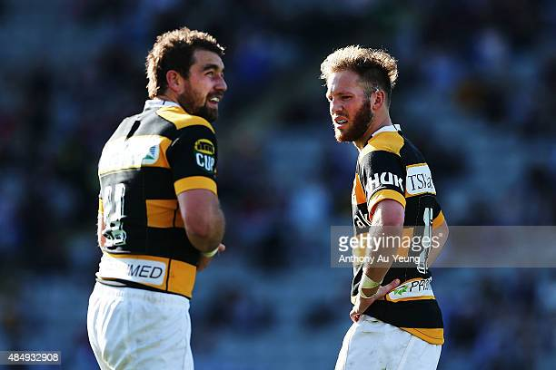 Marty McKenzie and Kurt Baker of Taranaki look on during the round two ITM Cup match between Auckland and Taranaki at Eden Park on August 23 2015 in...